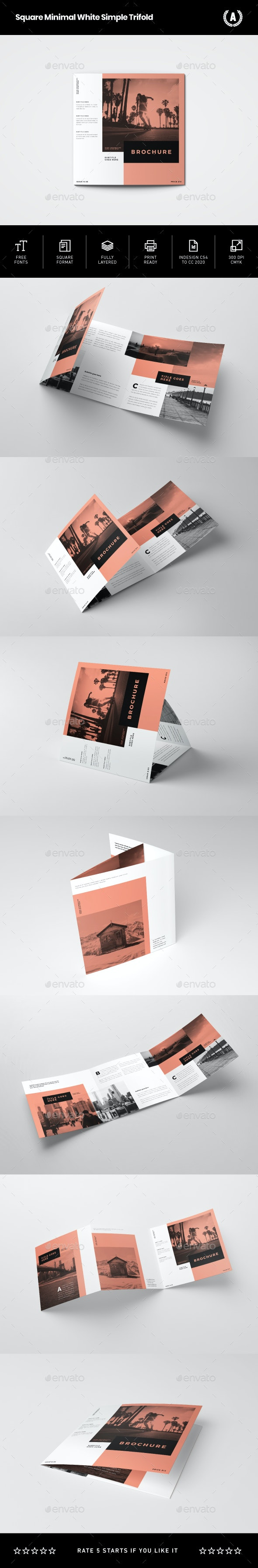 Square Minimal White Simple Trifold - Brochures Print Templates