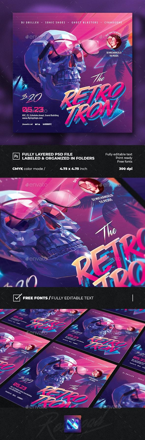 Retro Tron 80s DJ Party Flyer - Events Flyers