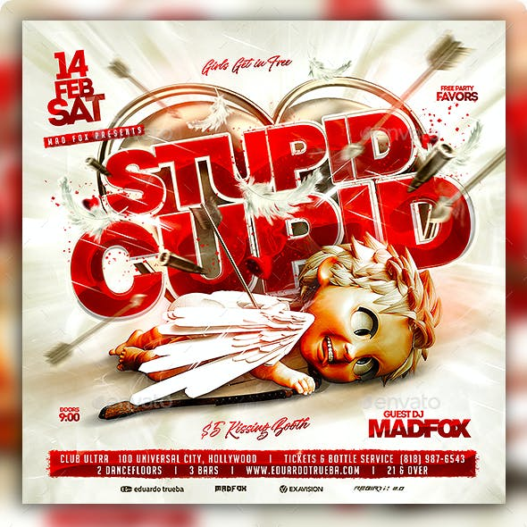 Stupid Cupid Valentines Party Flyer