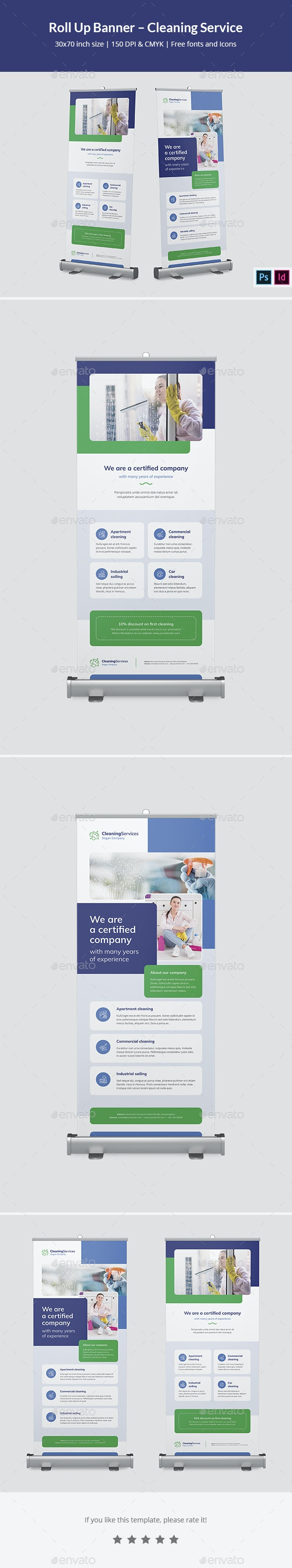 Roll Up Banner – Cleaning Service - Signage Print Templates