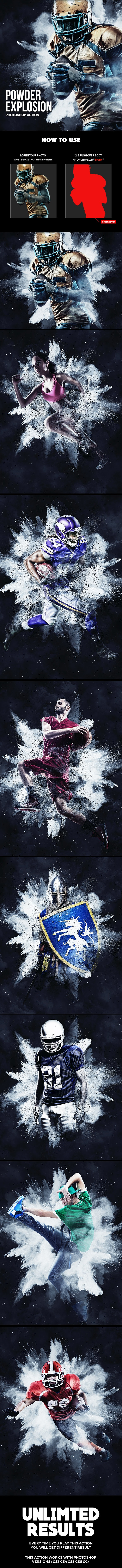 Powder Explosion Photoshop Action - Photo Effects Actions
