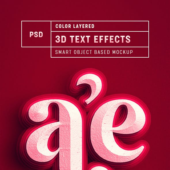 Color Layered 3D Text Effect Mockup