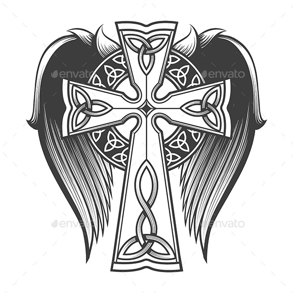 Celtic Cross with Wings - Tattoos Vectors