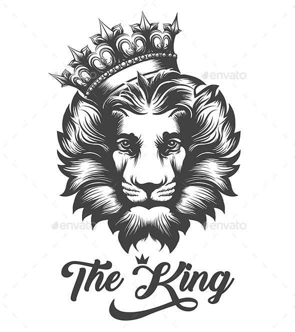 Lion Head In King Crown in Engraving Style - Tattoos Vectors
