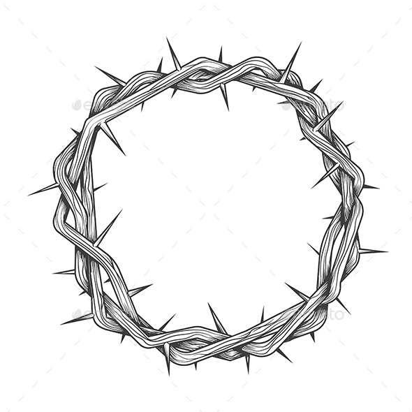 Hand Made Crown of Thorns Tattoo - Tattoos Vectors