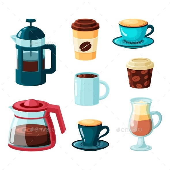 Coffee Mugs Vector Collection In Cartoon Style By Alex Cardo Graphicriver