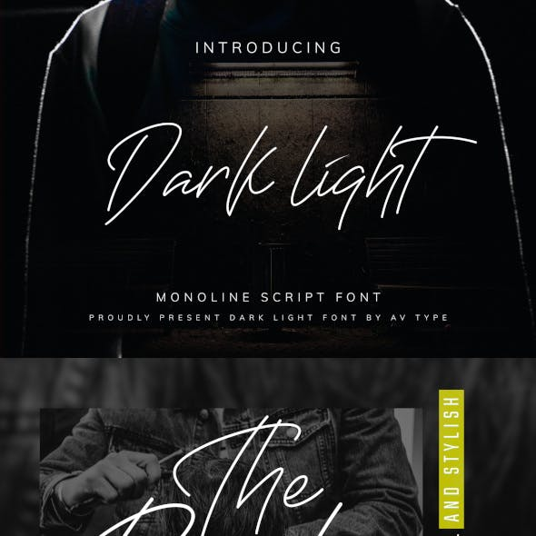 Darklight | Monoline Script Font