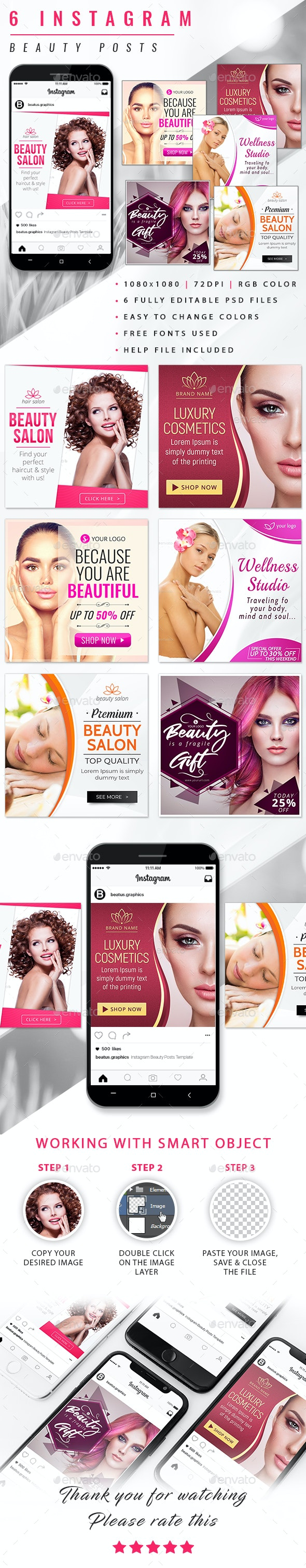 Instagram Beauty Posts - Social Media Web Elements