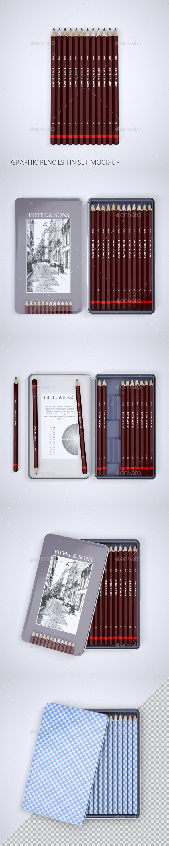 Graphic Pencils Tin Set Mock-Up - Stationery Print
