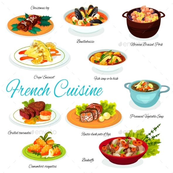 French Meat and Vegetable Dishes and Desserts