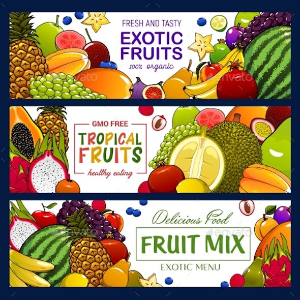 Tropical Fruits and Berry Banners
