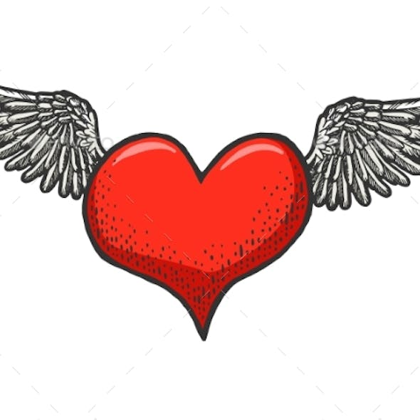 Flying Heart Symbol with Wings Sketch