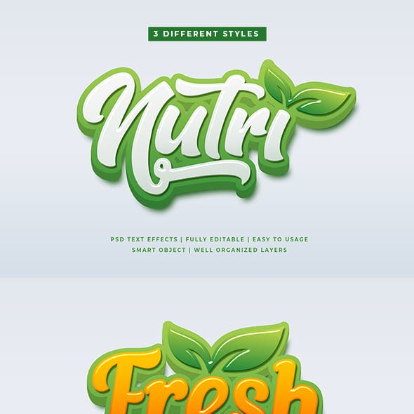 Green Natural 3D Text Style Effects Mockup