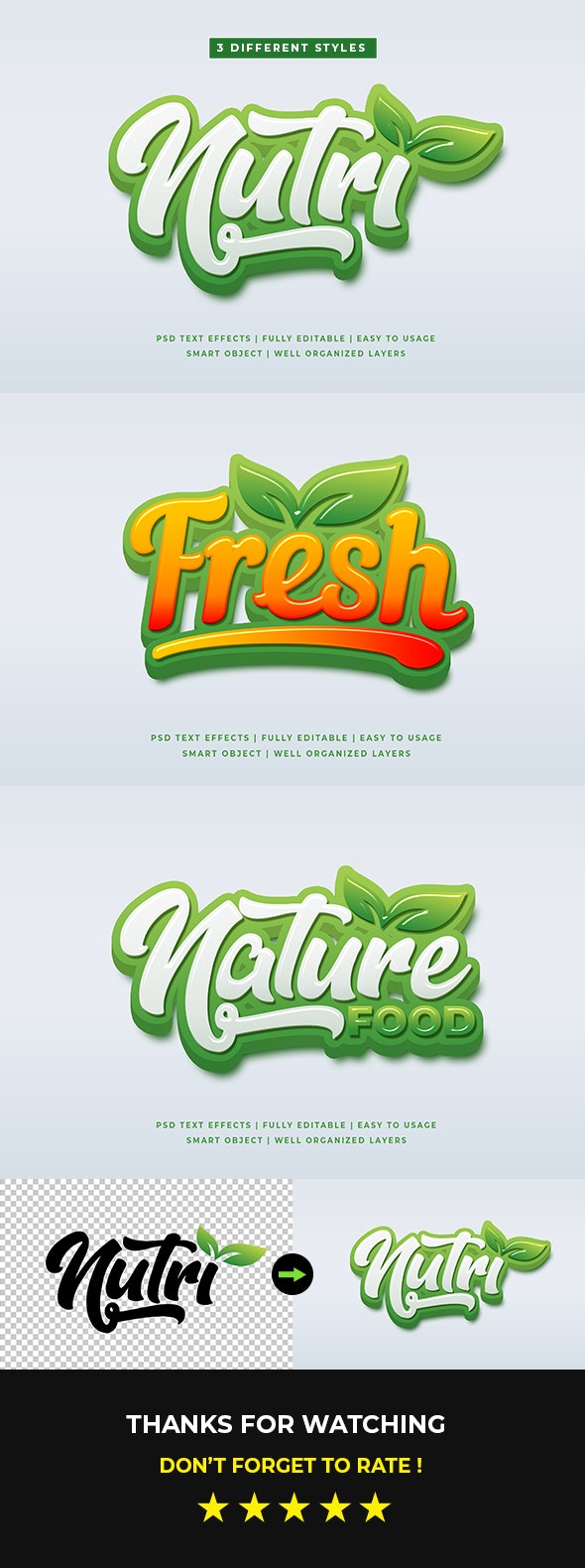 Green Natural 3D Text Style Effects Mockup - Text Effects Actions