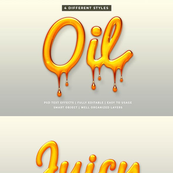 Liquid Oil Text Style Effect Mockup