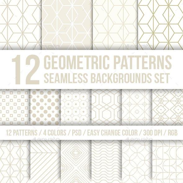 Geometric Patterns Seamless Backgrounds Set