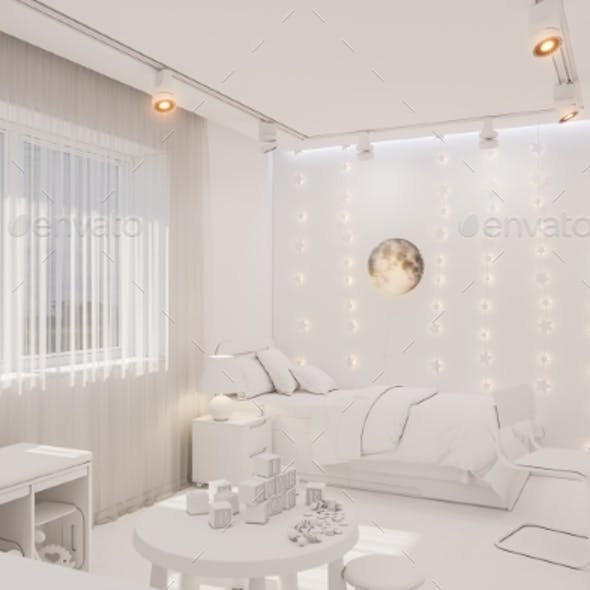3d Render of the Kid Bedroom Interior in White