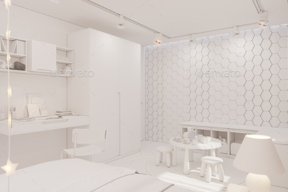 3d Render of the Kid Bedroom Interior in White - Architecture 3D Renders