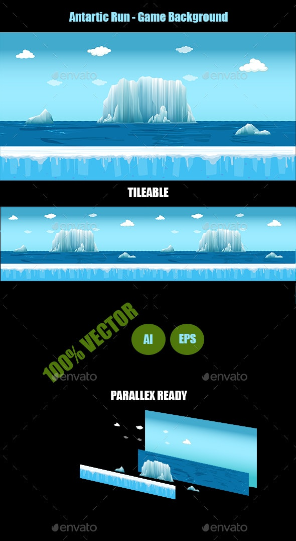 Antartic run - Game Background - Backgrounds Game Assets