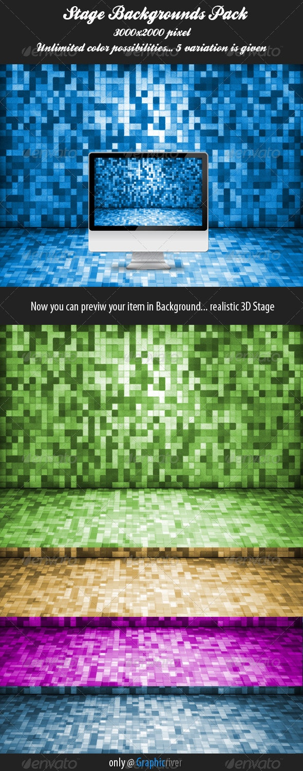 3D Pixaleted Stage Background Pack - Miscellaneous Backgrounds