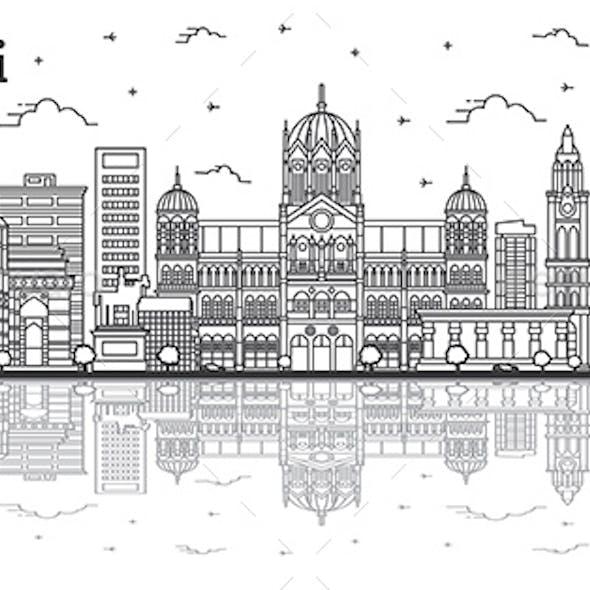 Outline Mumbai India City Skyline