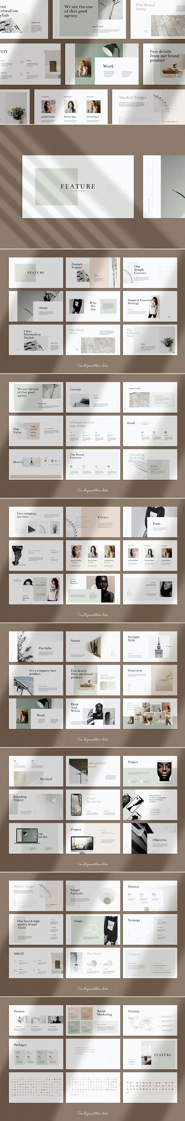 Feature Minimal PowerPoint Presentation Template - Business PowerPoint Templates