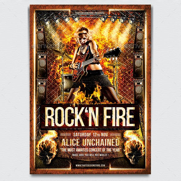 Rock' N Fire Live Flyer Template