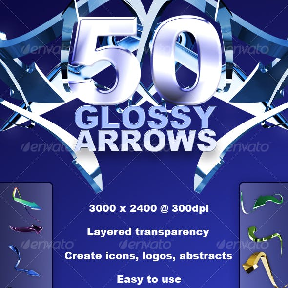 50 High Res Glossy Arrows