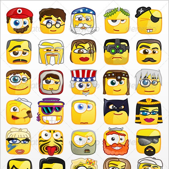 50 Square emoticons PACK 1