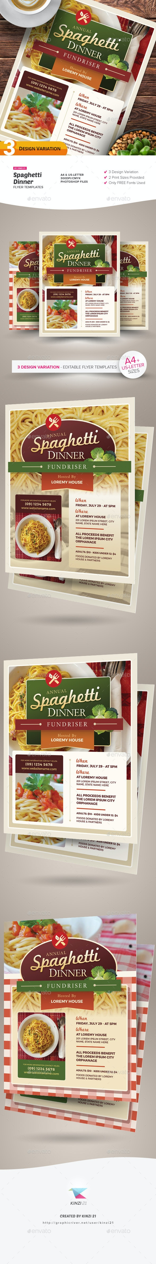 Spaghetti Dinner Flyer Templates - Miscellaneous Events