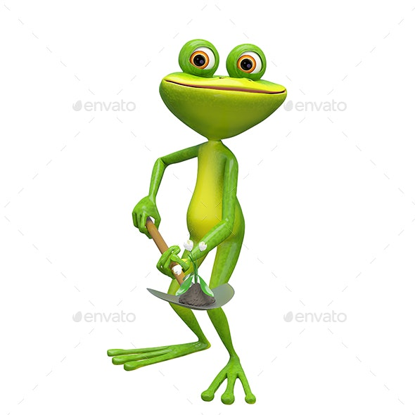 3D Illustration of a Frog with a Flower on a Shovel - Animals Illustrations
