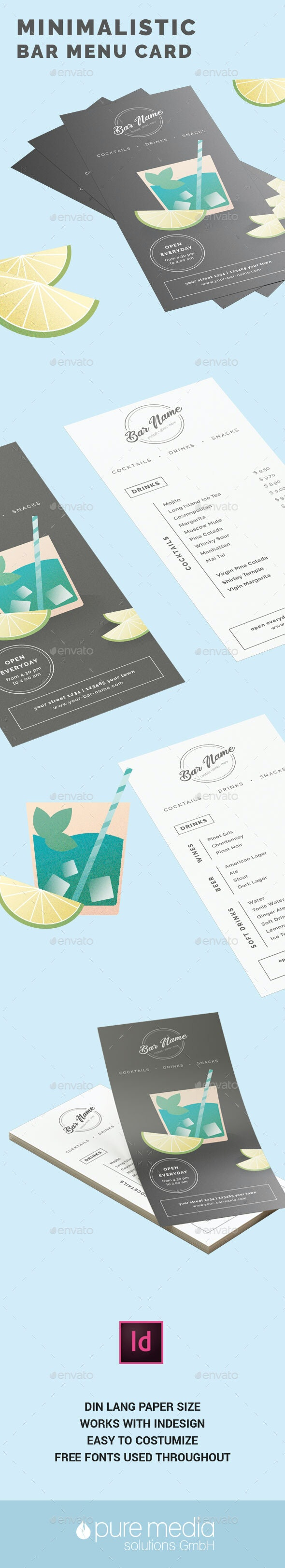 Minimalistic Bar Menu Card - Food Menus Print Templates