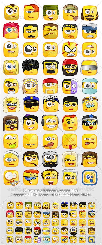 50 Square emoticons PACK 2