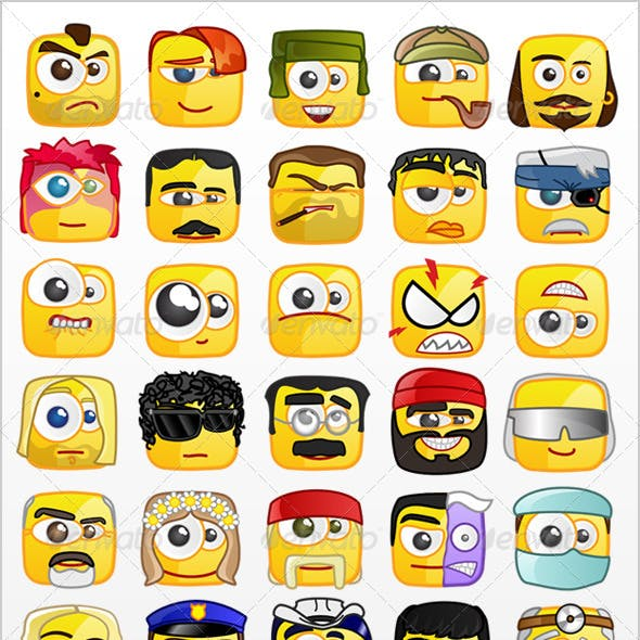 50 Square emoticons PACK 2
