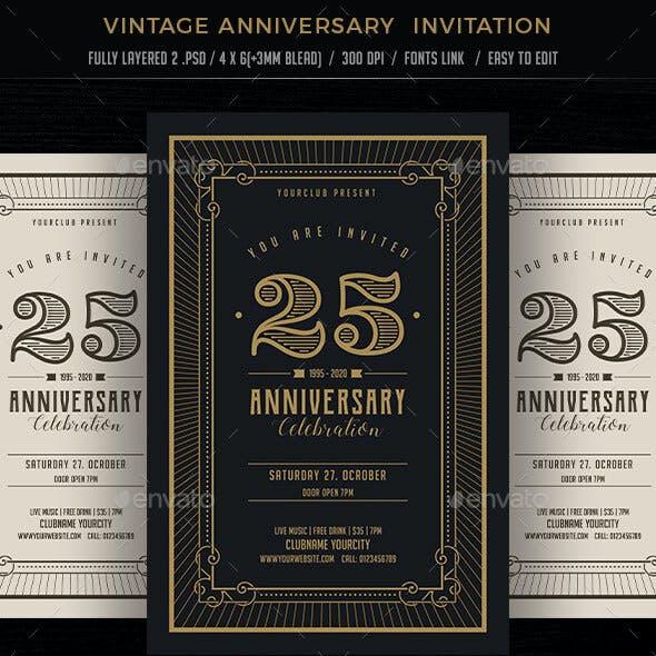 Vintage Aanniversary Invitation