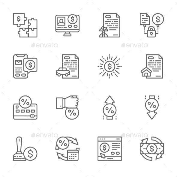 Set Of Quick Loan Line Icons. Pack Of 64x64 Pixel Icons