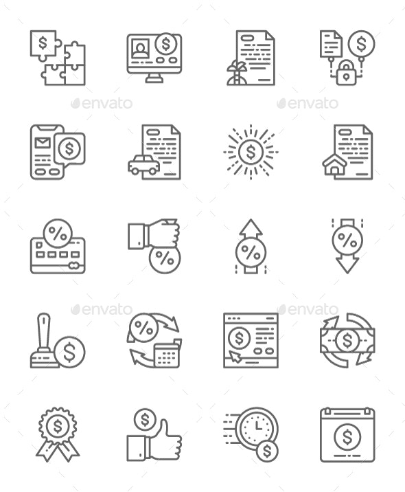 Set Of Quick Loan Line Icons. Pack Of 64x64 Pixel Icons - Technology Icons