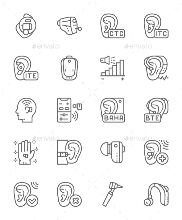 Set Of Hearing Aid Line Icons. Pack Of 64x64 Pixel Icons - Technology Icons