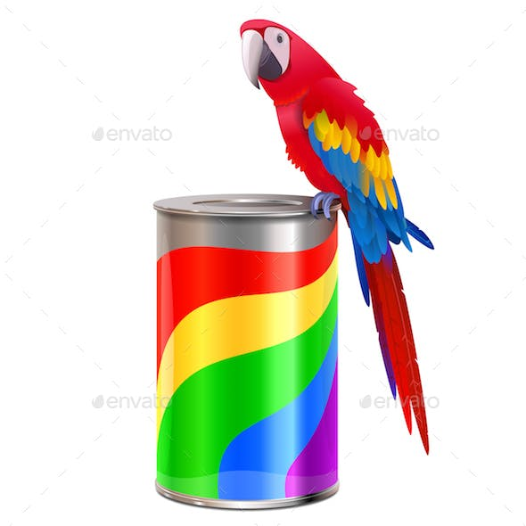 Vector Parrot with Paint Can