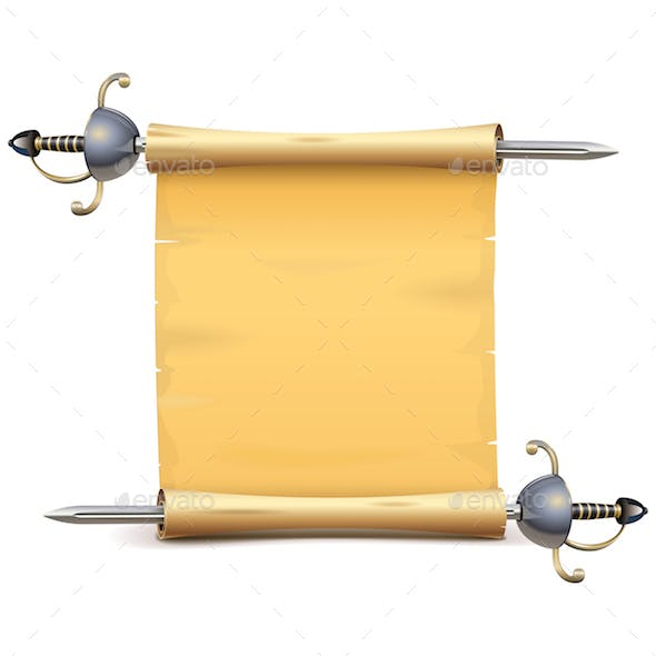 Vector Paper Scroll with Sword