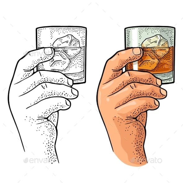Male Hand Holding Glass Whiskey Vintage Vector