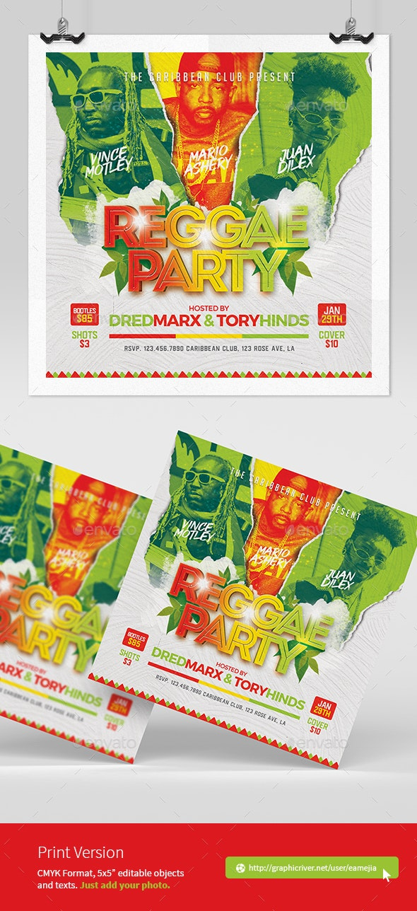 Reggae Music Flyer - Clubs & Parties Events