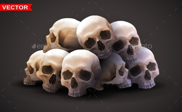 Detailed Graphic Photorealistic Human Skulls - Miscellaneous Vectors