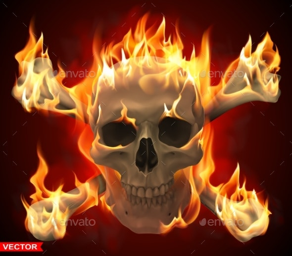 Realistic Burning Human Skull with Crossed Bones - Miscellaneous Vectors