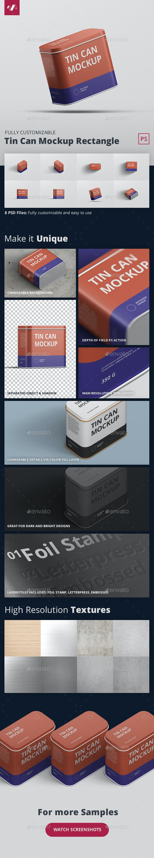 Tin Can Mockup Rectangle - Miscellaneous Packaging