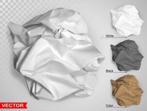 Wrinkled Crumpled Realistic Carton Paper Ball - Miscellaneous Vectors