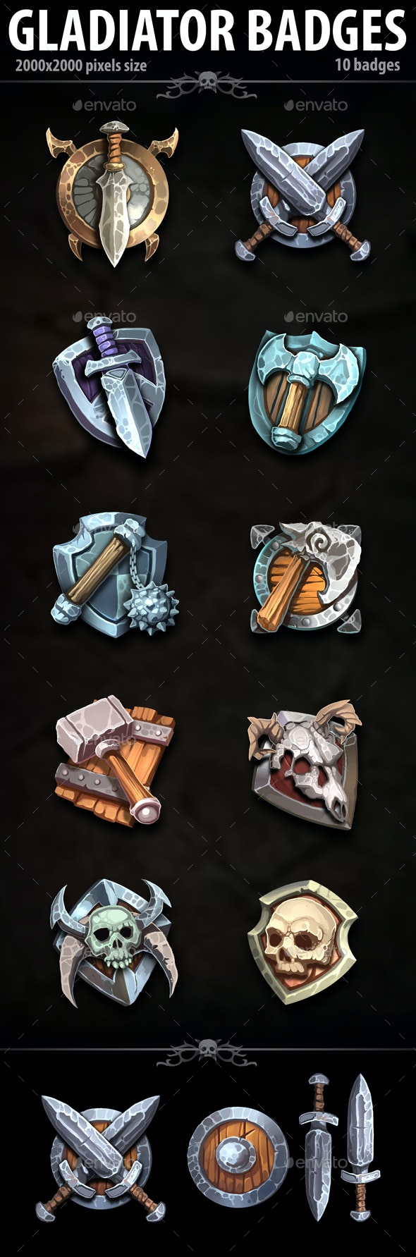 Gladiator Badges - Miscellaneous Game Assets