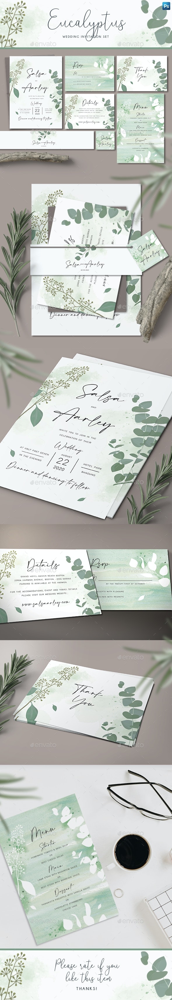Eucalyptus Wedding Invitation Set - Weddings Cards & Invites
