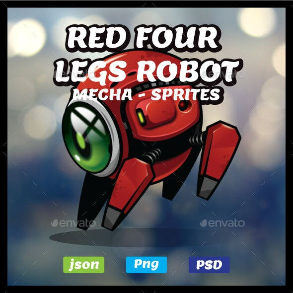 Red Metal Robot Game Asset