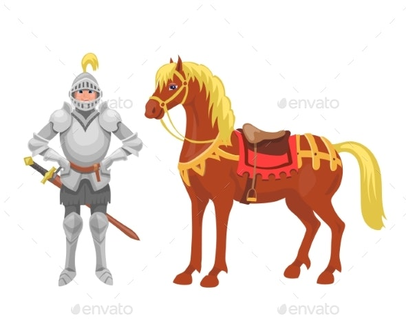 Knight with Armor and Horse Vector Illustration - People Characters